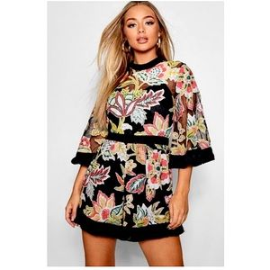 NWT Boohoo Embroidered Playsuit Romper